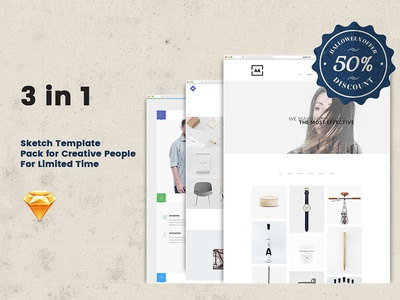 3in1 (60% Off) Sketch Templates Pack sketch template ui ux design portfolio blog creative minimal professional resume modern