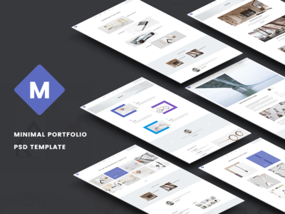 M - Minimal Portfolio PSD Template psd template photoshop ui ux blog interface portfolio shop modern minimal corporate flat