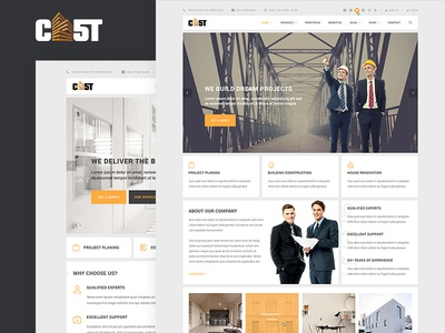 CAST - A Construction & Business PSD Template psd template photoshop ui ux corporate interface portfolio shop business minimal construction flat