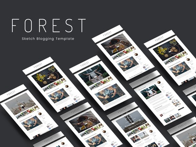 Forest - Minimal Sktch Blogging Template creative market graphics mockup light modern professional minimal sketch template blogging blog sketch template