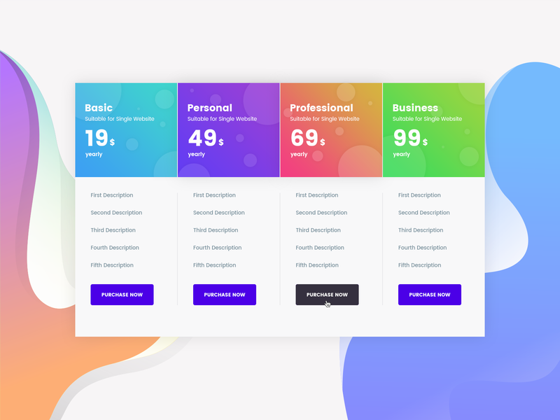 Pricing Table Concept 003 modern minimal design creative agency interface psd template portfolio ux ui