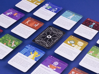 Onboarding Game Cards tech brand company play card game dynatrace game illustration game card print branding onboarding