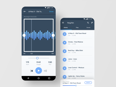 TringTrim :  Chop a song into a Ringtone minimal app ux design ui interaction design