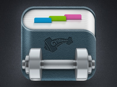 App icon fitness dumbbell sport book icon cubism