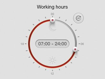 Working Hours time controls ui interface timespan