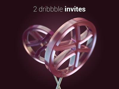 2 invites invite dribbble lollipop c4d 3d