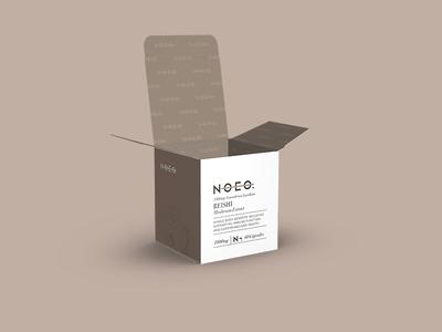 Noeo Packaging product beige brown reishi mushrooms packaging carton cosmetics