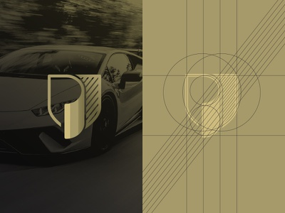Letter P Shield mark icon logo logo design prestige black gold sportscar cars car letter p shield paint