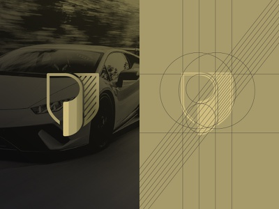 Letter P Shield mark icon logo logo design prestige black gold sportscar cars car letter p shield paint