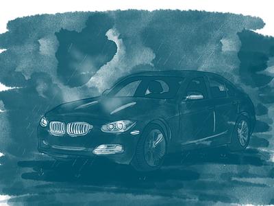 Night drive comics illustration car