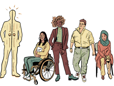 Embodied Disability Illustrations - 1 justice metaphor disability colorful comics cartoon illustration