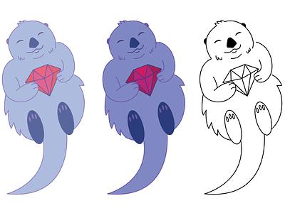 Otter holding a ruby cartoon illustration mascot character cartoon ruby otter