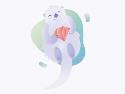 Ruby Otter Boi #2 cute ruby otter cartoon illustration