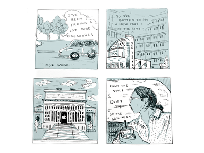Aug. 6 - City Buildings dc illustration stipple daily comics cartoon
