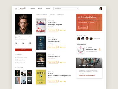 Goodreads Re-Design Concept dasboard re design re-design goodreads profile user ux ui