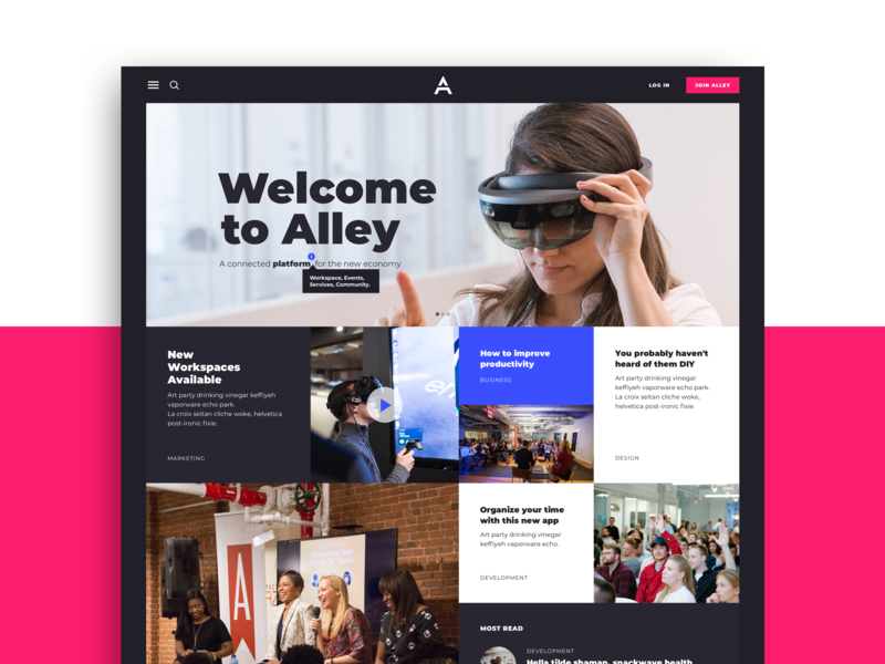 Alley Website article incubator news feed newsfeed hero news blog web design web cowork landing website grid layout grid ux ui