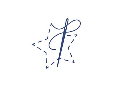 Star Creations Logomark logomark star sew sewing needle thread stitching logo branding illustration icon