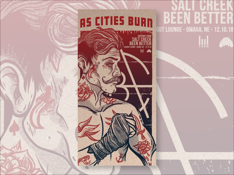 As Cities Burn gig poster screen print illustraion