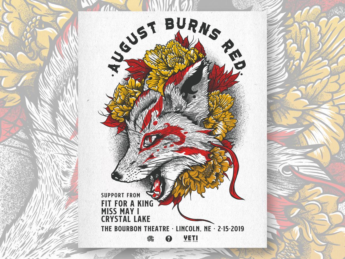 August Burns Red gig poster screenprinting fox illustrator illustration