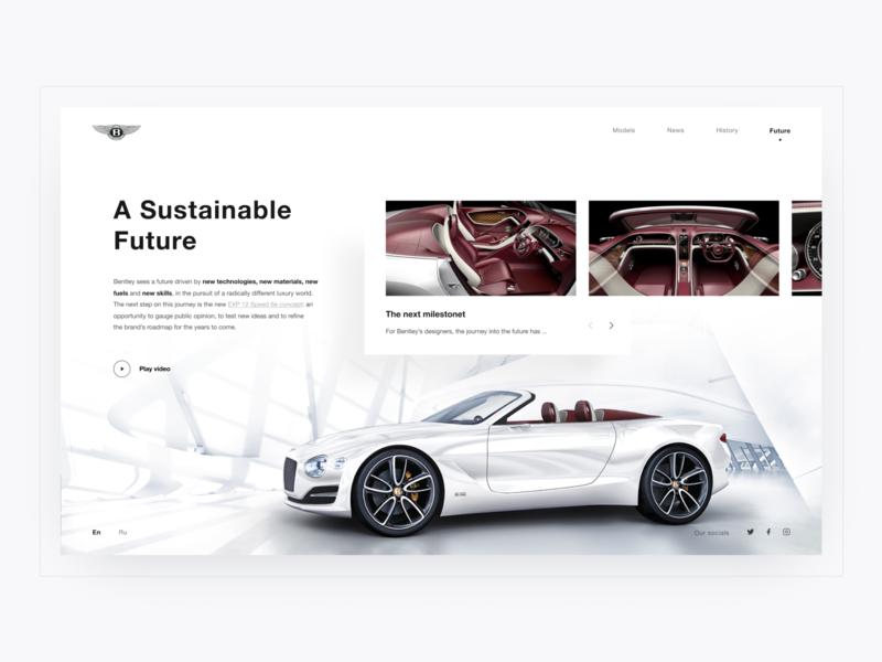 'Future' page. BENTLEY. 100 EXTRAORDINARY YEARS user experience design user interface web веб-дизайн дизайн car  auto bentley sport car car typography design photoshop figma uidesigner dribbble ux uitrends uidesign ui webdesign