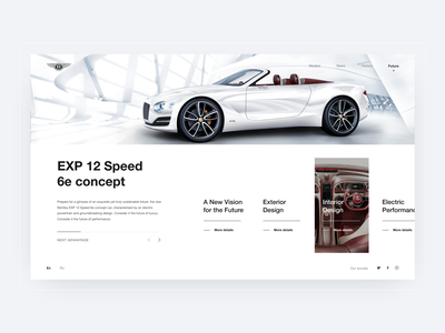 'EXP 12 Speed 6e concept' page. BENTLEY. 100 EXTRAORDINARY YEARS дизайн веб-дизайн user interface user experience designer user experience user experience design web typography design melart adobe xd photoshop figma ux uidesigner uitrends uidesign ui dribbble webdesign