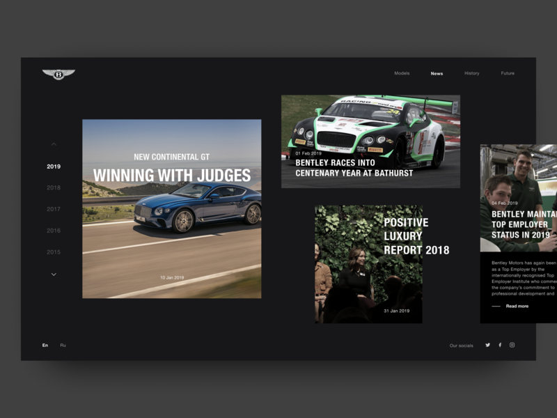 News. BENTLEY. 100 EXTRAORDINARY YEARS веб-дизайн дизайн bentley luxury car luxury sportcar car motion web typography design photoshop figma uidesigner ux uitrends uidesign ui dribbble webdesign