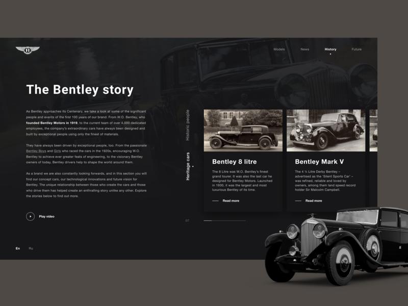 History. BENTLEY. 100 EXTRAORDINARY YEARS user experience user interface design дизайн веб-дизайн luxury car history bentley car web typography design photoshop figma uidesigner ux uitrends uidesign ui dribbble webdesign