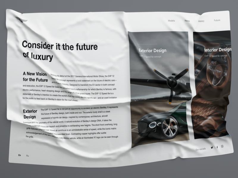 BENTLEY. 100 EXTRAORDINARY YEARS веб-дизайн bentley luxury car luxury promo photo motion models car interface interaction concept art website web design typography figma ux ui webdesign