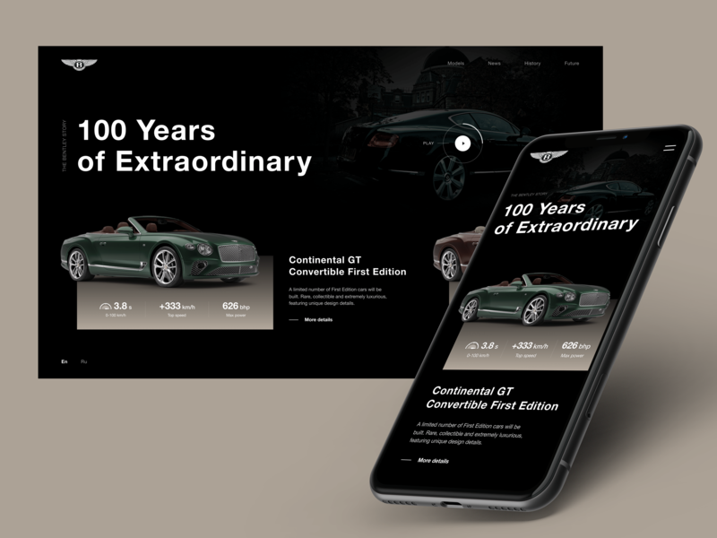 Main page. BENTLEY. 100 EXTRAORDINARY YEARS mockup appdesign app user experience userinterface mobile typography car bentley web photoshop design uidesigner figma uitrends uidesign dribbble ux ui webdesign