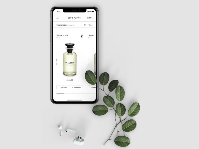 Louis Vuitton Mobile photoshop melart ecommerce store fragrance product page product card mobile design mobile appdesign typography uidesigner figma design uitrends uidesign ux ui dribbble webdesign