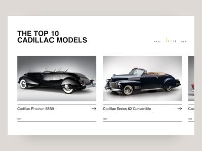 Retro Car. Top 10 Cadillac Models