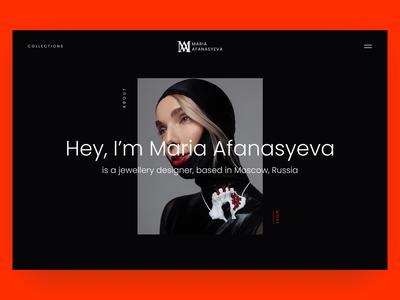 Page About. Maria Afanasyeva Jewellery Designer