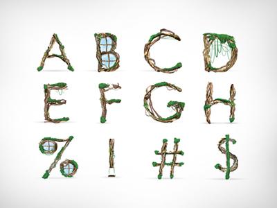 Organik Typeface photo manipulation font custom font alphabet typeface type typography design