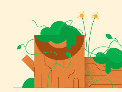 Overgrown weeds trees style frame illustration
