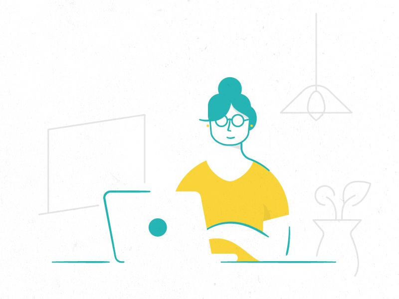 Woman with a computer computer woman character design