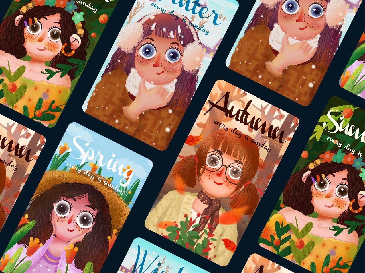 四季女孩 设计 插图