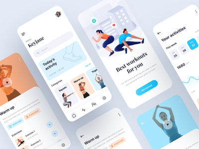 Workout Mobile App mobile app design mobile design fitness workout mobile ui mobile app mobiledesign mobileappdesign mobileapp mobile typography hero gradation gradient exploration design ux illustration ui vector