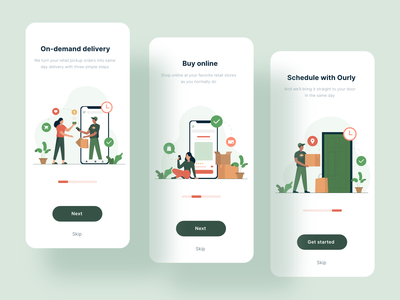 Onboarding Screens for Ourly Delivery App app ios illustrations app design mobile app typography exploration design ux illustration ui vector onboarding illustration onboarding screens onboarding ui onboarding