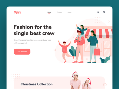 Teini - Fashion Brand Website fashion website fashion typography ux ui vector illustration header illustration header landing page homepage web design website design website