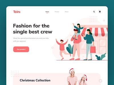 Teini - Fashion Brand Website fashion website fashion typography ux ui vector illustration header illustration header landing page homepage web design website design website
