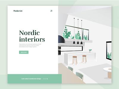 Modernist Interiors furniture illustration vector interior design web