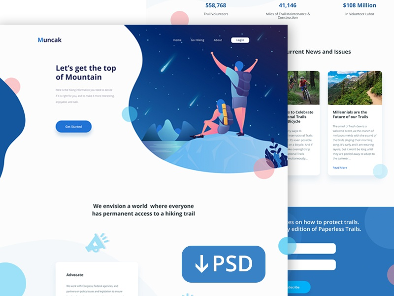 PSD Freebie : Landing Page for Hiking Site ux ui gradient gradation hiking vector landingpage illustration
