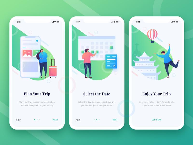 Travel App Onboarding onboarding mobile app hero exploration gradation design gradient ux ui illustration vector