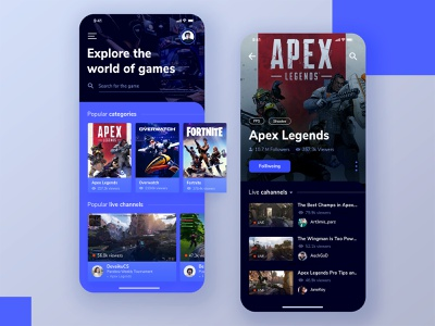 Game Streaming App streaming live overwatch fortnite apex legends game application mobile app app icon typography exploration gradation design gradient ux ui illustration vector