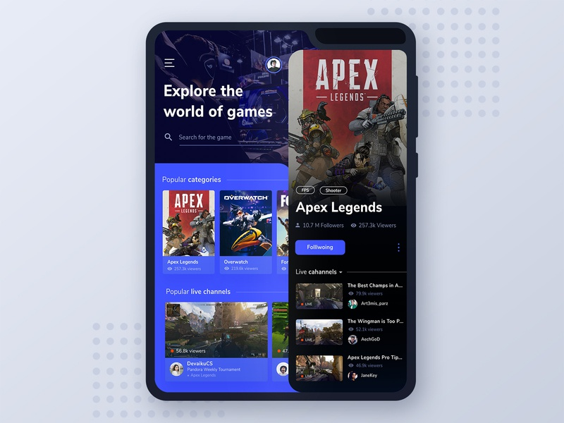 Foldable Phone - Game Streaming App exploration ui ui ux overwatch fortnite apex foldablephone galaxy fold samsung galaxy samsung streaming app streaming games game app design application app