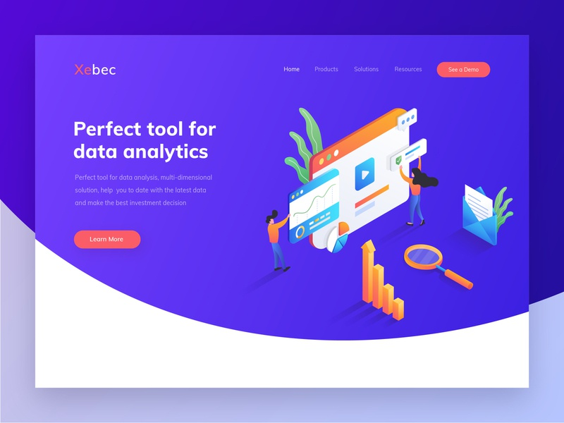 Xebec - Header illustration for data analytics website illustrations isometric illustration isometric hero section data analytics website design website hero image hero header landingpage gradation gradient exploration design ui ux illustration vector