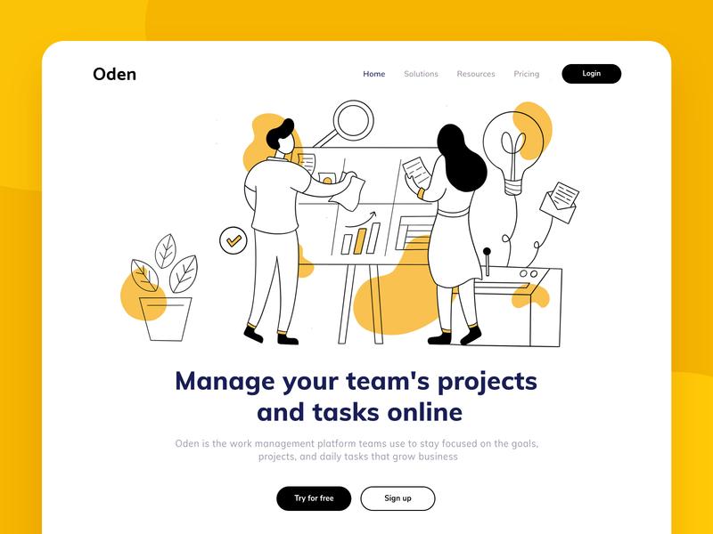 Oden - Work management platform team work teamwork project platform management website design lineart line web design web typography hero header landingpage exploration design ux ui illustration vector