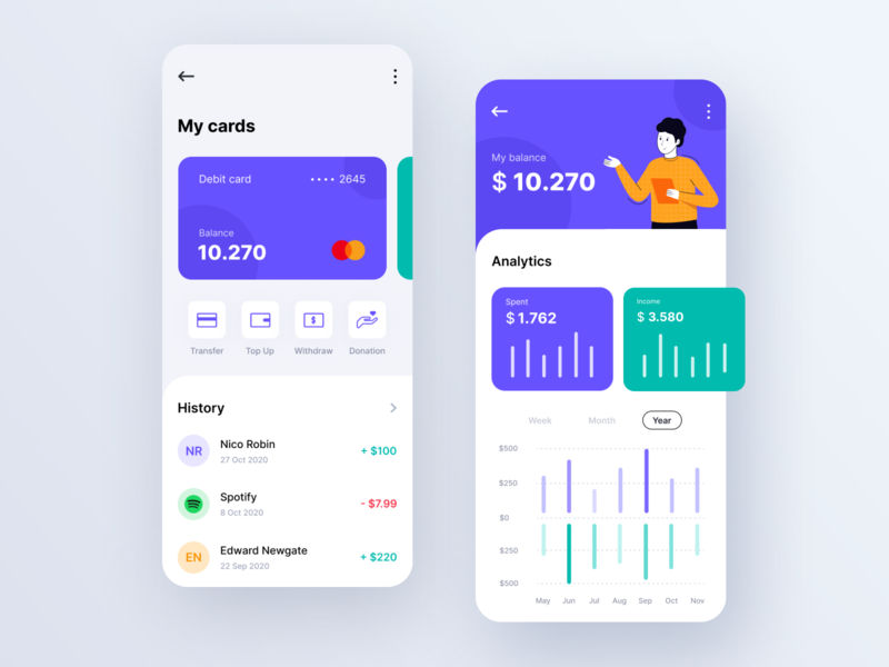 Mobile Banking App - Exploration finance app analytics finance money transfer money banking app design application mobileapp mobile app hero branding typography vector illustration exploration design ux ui