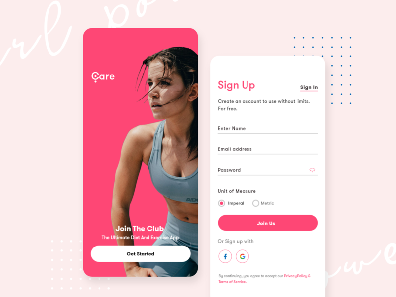 Care Mobile Design fitness gym mobile app onboarding woman power woman portrait ui ios signup ios screens ios app screens girl fitness app bright color combinations