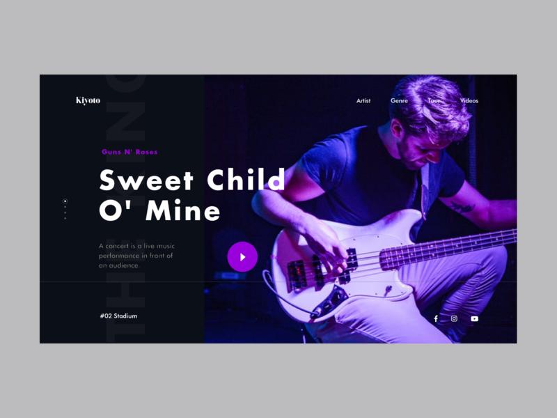 Landing page - Kiyoto II music album concept black minimal landing page web design ux ui clean music